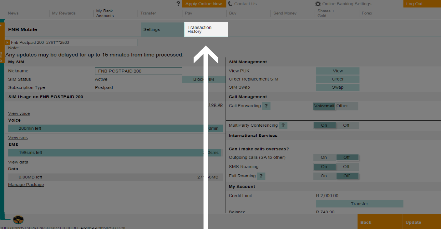 How to view your FNB Connect transaction history online